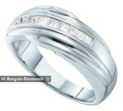mens square diamond .50 carat 14K white gold wedding ring band GIA
