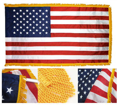 3X5 Embroidered US USA American 220-D Flag 3'x5' Indoor Pole Sleeve Gold FRINGE