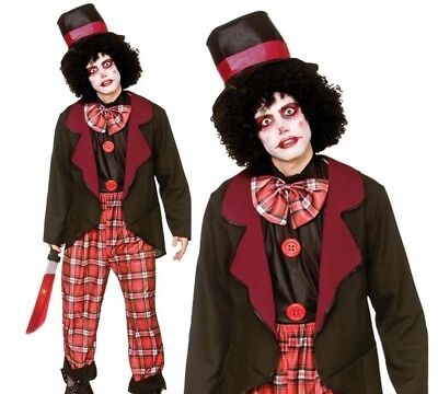 Freaky Scary Halloween Costumes (Adult Freaky Clown Scary Horror Mens Circus Halloween Fancy Dress)