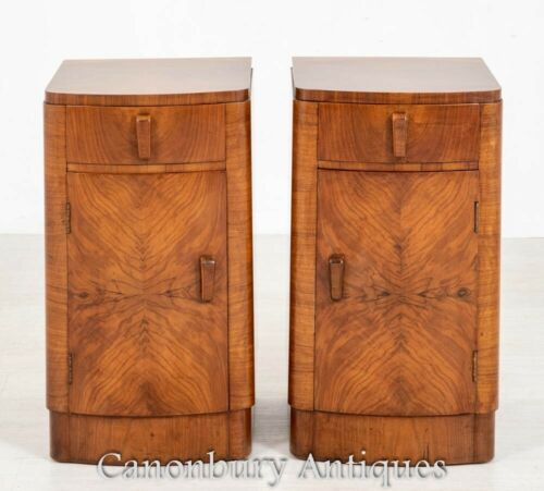 Pair Art Deco Bedside Chests - Antique Nightstands 1930