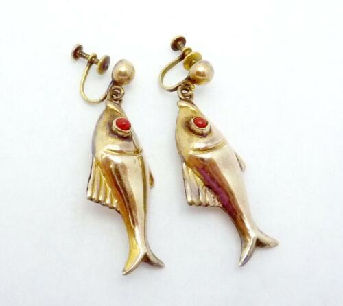 Vintage Hubert Harmon Design Taxco Mexican Brass Dangling Fish Earrings 24886