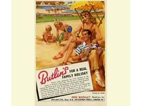 Butlins Poster print Holiday Railway Classic Poster Print A4 Print