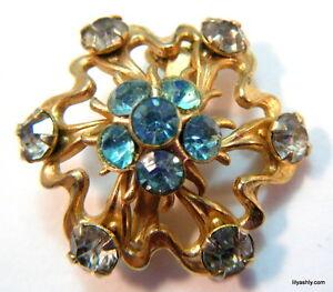 Vintage-Victorian-Edwardian-Style-Gold-Filigree-Blue-Rhinestone-Brooch-Pin