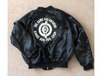 Men's black satin bomber jacket. Aristo Jac. Size L.