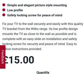 Wilko wallmount tv bracket
