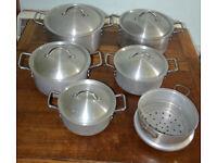 Set of 5 Cast aluminium Dutch Pots/Casserole/Dutchie/Saucepans