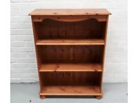 Solid Pine Open Bookcase With Two Adjustable Shelves
