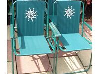 PAIR of Green GARDEN CHAIRS folding / fold up