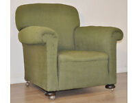 Attractive Vintage Green Scroll Arm Armchair Chair For Restoration Reupholstery