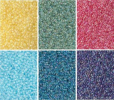 - 6 Colors Miyuki Round Seed Beads Size 11/0 Color Lined Crystal AB Colors 11-CMD8