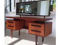 Vintage G Plan Fresco Teak Floating Top Dresser / Desk