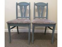 2 chairs wide seat dining chairs spare chairs shabby chic solid wood bedroom chairs FREE DELIVERY