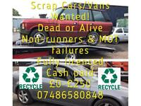 Scrap cars/vans wanted dead or alive sell your car for cash today