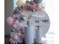 Greenwich Events decor Circle Backdrop and plinths hire!