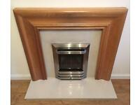 Living flame gas fire with marble hearth