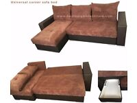 NEW UNIVERSAL RIGHT OR LOFT CORNER SOFA BED WITH STORAGE IN BLACK WITH GREY BROWN, FABRIC