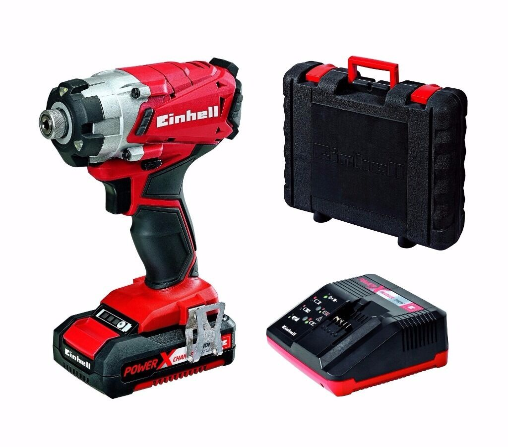 einhell power x-change 18v cordless lithium li-ion impact driver +