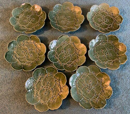 Bordallo Pinheiro Majolica Green Leaf Raised Rim Salad Plates Lot Set Of 8