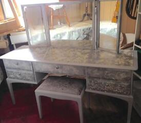 Unique,Upcycled Stag Minstrel Dressing Table,3 mirrors & stool