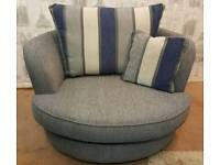 Grey fabric sofa and swivel armchair. Delivery available