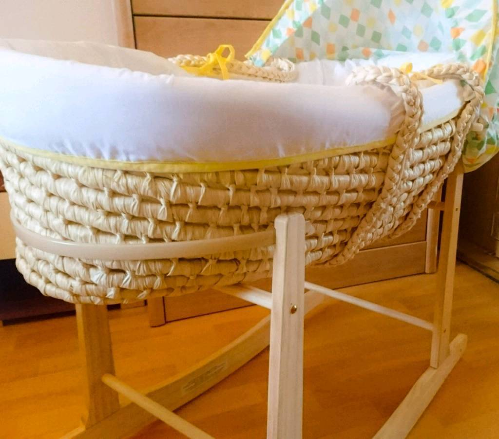 Beautiful Rare Moses Basket with Rocking Stand and Fitted Sheets