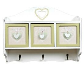 Wooden Wall hanging 3 drawers & Hooks Unit 40cm Unit RP £79 Brand New