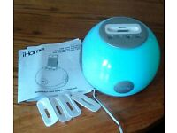 iHome LED colour changing Stereo System to charge & play iphone & ipods