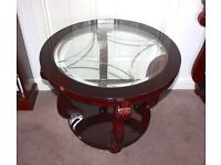 Large Mahogany glass italian coffee table