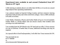 Experienced tutor available in Science and Maths in and around Chelmsford from 29th March-19th April