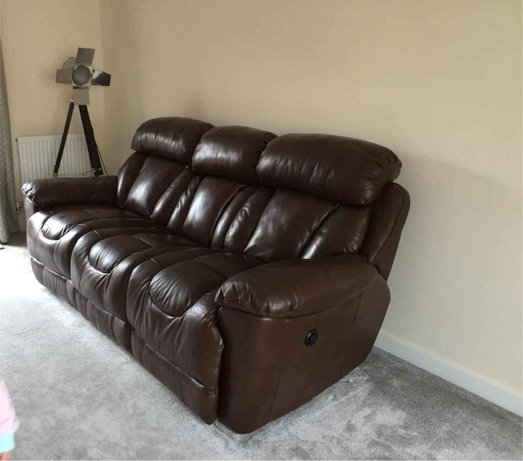 Dfs 3 seater electric leather recliner and single chair