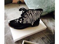 Ladies zebra print boots