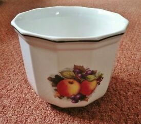 Fruits of the Forest Design and White Ceramic Indoor Flower / Plant Pot / Planter