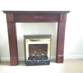 Dark wood mantelpiece and WORKING Electric fireplace GOOD CONDITION