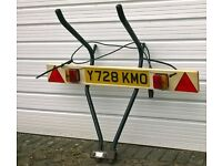 Number-plate with lighting board for trailer or cycle rack