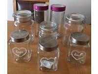 8 x Kitchen Storage Glass Jars / Containers - Pasta, Tea, Coffee, Sugar, Jam etc (NEW & UNUSED)