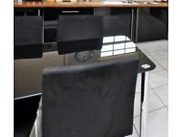 For Sale Black Glass Dining Table and 4 Black & Chrome Chairs