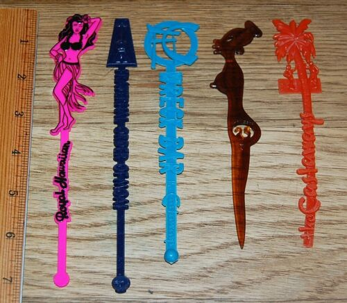 Lot #D of 5 Tiki Pop Bar Swizzle Stir Sticks Fraternal Order of Moai, others!