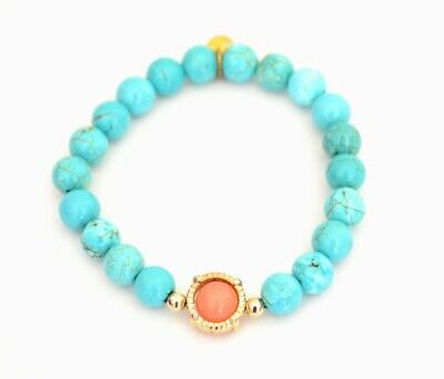 Cara NY Faux Turquoise & Morganite Accent Stone Bead Women's Stretch Bracelet 6