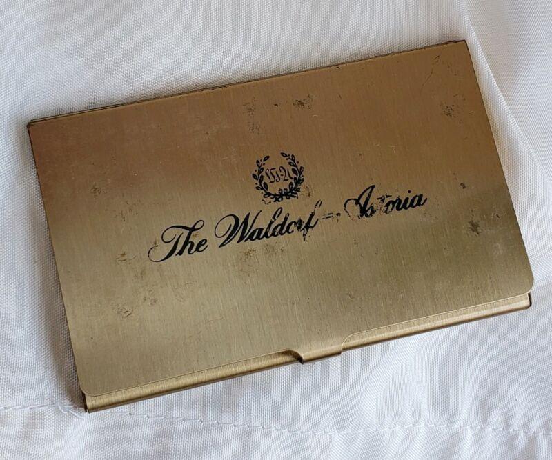 Waldorf Astoria Business Credit Card Holder Case New York Hotel Vintage Brass