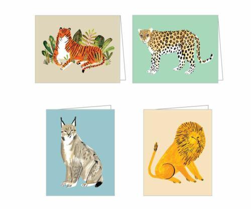 4 BIG CATS Tiger Lion Lynx Jaguar NOTE GREETING CARDS & ENVELOPES Notecards NEW