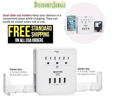 Bestten Multi Outlet Wall Mount Adapter Surge Protector with Four (4) USB--NEW--