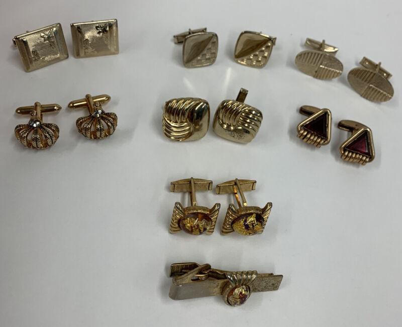 Vintage Mens Cufflinks Lot of 7 1970s Crown Goldtone
