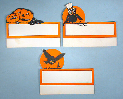 1930s 3 Original Halloween Party Table Place Cards Die-cut Owl Jack-o-lantern