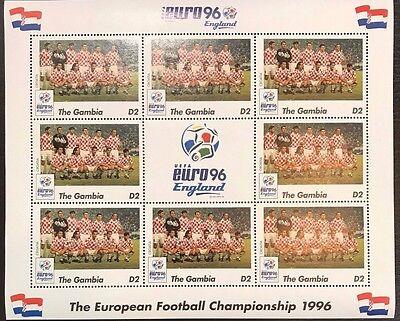 Gambia '96 Euro England Football Championship Stamp- Croatia Sheetlet of 9