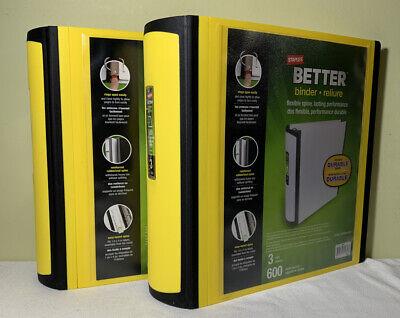 2 Staples Better Binder 3-Inch D 3-Ring Binder Yellow & Black New NWT (2) Set