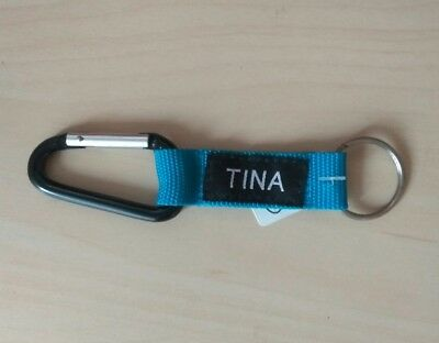 Karabiner Schlüsselanhänger name Tina Mitbringsel Geschenk