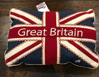 "BNWT Jan Constantine linen cushion wool appliqué Union Jack and ""Great Britain"""