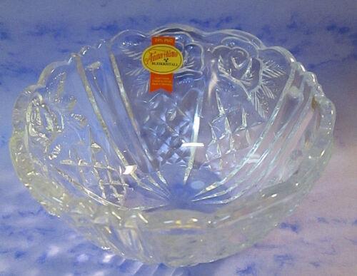 Vtg. Anna Hutte Rose Bowl 24% Lead Crystal Hand Cut Glass Bleikristall Germany