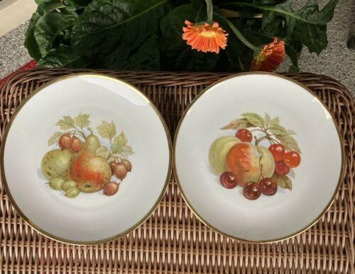 "Vintage Bareuther Bavaria West Germany 2 Plates Variety of Fruits & Gold Rim 8"""