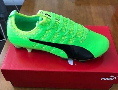 PUMA EVOPOWER VIGOR 1 FG - GREEN BLACK YELLOW - UK 6 - MENS FOOTBALL BOOTS